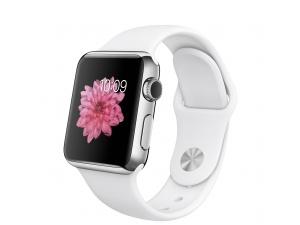 Watch (38 mm) Paslanmaz Çelik Kasa ve Beyaz Spor Kordon Apple