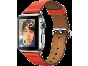 Watch (38 mm) Paslanmaz Çelik Kasa ve Klasik Tokalı Kırmızı Kayış Apple