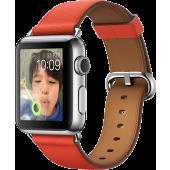 Apple Watch (38 mm) Paslanmaz Çelik Kasa ve Klasik Tokalı Kırmızı Kayış