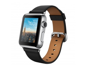 Watch (38 mm) Paslanmaz Çelik Kasa ve Klasik Tokalı Siyah Kayış Apple