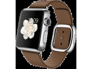 Watch (38 mm) Paslanmaz Çelik Kasa ve Modern Tokalı Kahverengi Kayış Apple