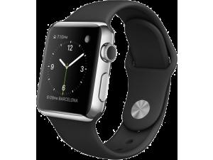 Watch (38 mm) Paslanmaz Çelik Kasa ve Siyah Spor Kordon Apple
