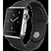 Apple Watch (38 mm) Paslanmaz Çelik Kasa ve Siyah Spor Kordon