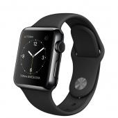 Apple Watch (38 mm) Uzay Siyahı Paslanmaz Çelik Kasa ve Siyah Spor Kordon