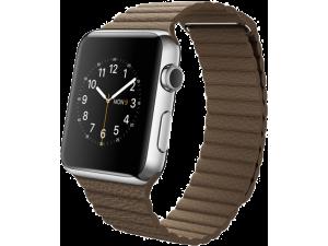 Watch (42 mm) Paslanmaz Çelik Kasa ve Açık Kahverengi Deri Loop Apple