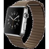 Apple Watch (42 mm) Paslanmaz Çelik Kasa ve Açık Kahverengi Deri Loop
