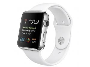 Watch (42 mm) Paslanmaz Çelik Kasa ve Beyaz Spor Kordon Apple