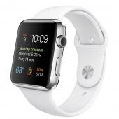 Apple Watch (42 mm) Paslanmaz Çelik Kasa ve Beyaz Spor Kordon
