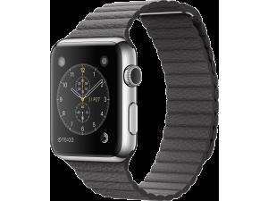 Watch (42 mm) Paslanmaz Çelik Kasa ve Fırtına Grisi Deri Loop Apple