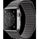 Apple Watch (42 mm) Paslanmaz Çelik Kasa ve Fırtına Grisi Deri Loop