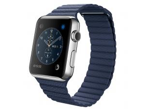 Watch (42 mm) Paslanmaz Çelik Kasa ve Gece Mavisi Deri Loop Apple