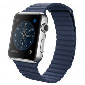 Apple Watch (42 mm) Paslanmaz Çelik Kasa ve Gece Mavisi Deri Loop