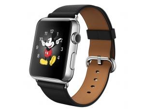 Watch (42 mm) Paslanmaz Çelik Kasa ve Klasik Tokalı Siyah Kayış Apple