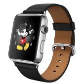 Apple Watch (42 mm) Paslanmaz Çelik Kasa ve Klasik Tokalı Siyah Kayış