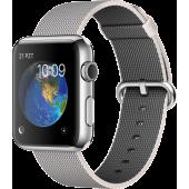 Apple Watch (42 mm) Paslanmaz Çelik Kasa ve Naylon Örme İnci Grisi Kordon