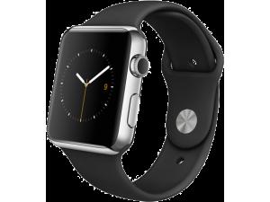 Watch (42 mm) Paslanmaz Çelik Kasa ve Siyah Spor Kordon Apple