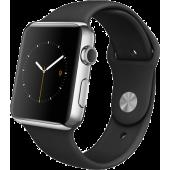 Apple Watch (42 mm) Paslanmaz Çelik Kasa ve Siyah Spor Kordon