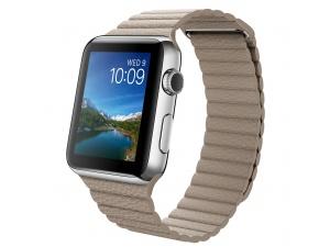 Watch (42 mm) Paslanmaz Çelik Kasa ve Taş Rengi Deri Loop Apple