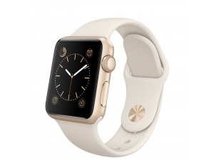 Watch Sport (38 mm) Altın Rengi Alüminyum Kasa ve Antik Beyaz Spor Kordon Apple
