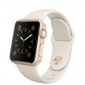 Apple Watch Sport (38 mm) Altın Rengi Alüminyum Kasa ve Antik Beyaz Spor Kordon