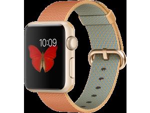 Watch Sport (38 mm) Altın Rengi Alüminyum Kasa ve Naylon Örme Altın/Kırmızı Kordon Apple