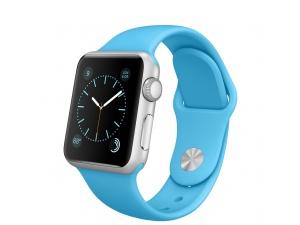 Watch Sport (38 mm) Gümüş Rengi Alüminyum Kasa ve Mavi Spor Kordon Apple