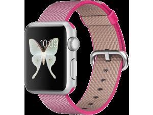 Watch Sport (38 mm) Gümüş Rengi Alüminyum Kasa ve Naylon Örme Pembe Kordon Apple