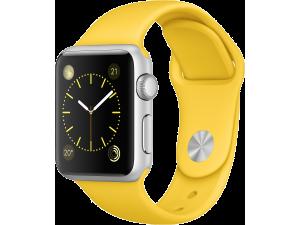 Watch Sport (38 mm) Gümüş Rengi Alüminyum Kasa ve Sarı Spor Kordon Apple