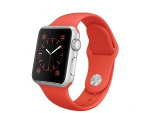 Watch Sport (38 mm) Gümüş Rengi Alüminyum Kasa ve Turuncu Spor Kordon Apple