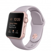 Apple Watch Sport (38 mm) Roze Altın Rengi Alüminyum Kasa ve Lavanta Spor Kordon