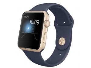 Apple Watch Sport (42 mm) Altın Rengi Alüminyum Kasa ve Gece Mavisi Spor Kordon