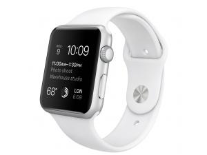 Watch Sport (42 mm) Gümüş Rengi Alüminyum Kasa ve Beyaz Spor Kordon Apple