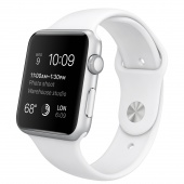Apple Watch Sport (42 mm) Gümüş Rengi Alüminyum Kasa ve Beyaz Spor Kordon