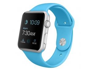 Watch Sport (42 mm) Gümüş Rengi Alüminyum Kasa ve Mavi Spor Kordon Apple