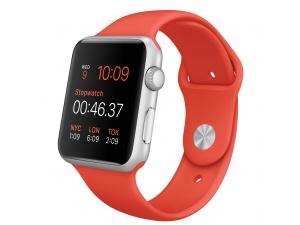 Watch Sport (42 mm) Gümüş Rengi Alüminyum Kasa ve Turuncu Spor Kordon Apple