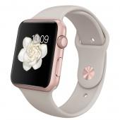 Apple Watch Sport (42 mm) Roze Altın Rengi Alüminyum Kasa ve Taş Rengi Spor Kordon