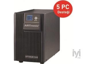 1KVA, On-Line, 2 Adet 12V 9AH Akü, LCD Ekran, 5 PC 5 Dk , UPS (ARN_OPTIMUM-1KVA) Artronic