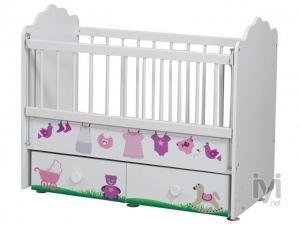 Cicila T-1133 Alttan Sallanır Asansörlü Bebek Beşik 60*120 Bebekli