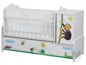 T-2413 Büyüyen Bebek Beşik 60*120 Kaplumbağalı Cicila