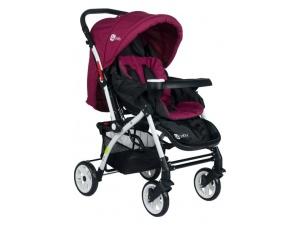 4 Baby Four Baby 2019 Lüx Alüminyum Mama Tablalı Çift Yönlü Bebek Arabası - Mürdüm