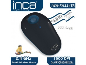 Inca Vivre IWM-FM334TR Inca-Track 1600 Dpi Wireless Nano Alıcılı Siyah Mavi