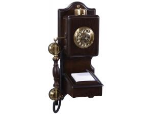 Anna Bell Notluklu Antik Duvar Ahşap Telefon