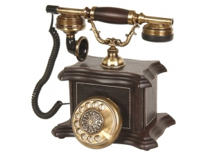 Anna Bell Konak Ceviz Deri Kaplama Ahşap Telefon