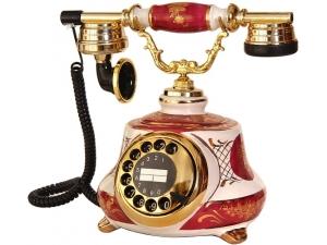Anna Bell Porselen Tombul Bordo Beyaz Telefon
