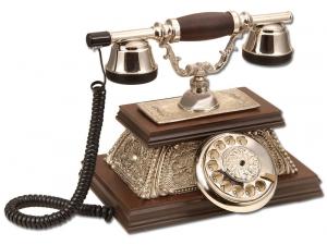 Anna Bell Yalı Gümüş Varaklı Klasik Ahşap Telefon