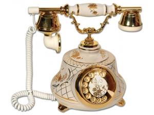 Anna Bell Tombul Porselen Beyaz Antika Telefon