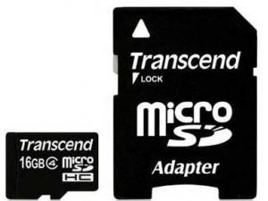 MicroSDHC 16GB Class 4 TS16GUSDC4 Transcend